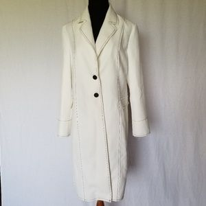 NWT TOPSHOP CONTRAST STITCH WHITE TWILL COAT